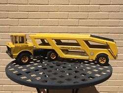 Vintage Mighty Tonka Car Carrier Yellow 1960andrsquos Metal Toys