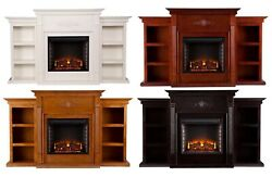 Electric Fireplace Heater With Led Logs Media Center Bookshelf Remote Control