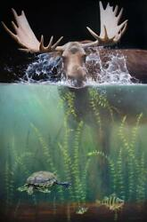 Bull Moose And River Friends Fine Art - Limited Edition Giclee Wildlife Print
