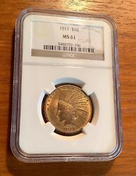 1911 10 Gold Indian Head Eagle Ngc Ms 61