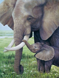 African Elephant And Calf Fine Art - Limited Edition Giclee Wildlife Print