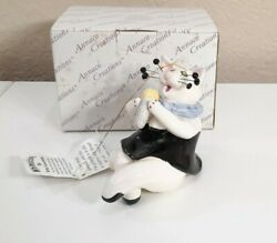 Whimsiclay Amy Lacombe Cat Vocalist Figurine with Microphone 2001 Signed new