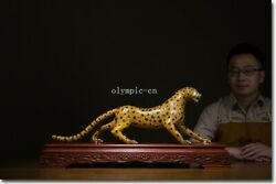 29and039and039 Bronze Cloisonne 100 Gold Home Fengshui Beast Fierce Leopard Statue
