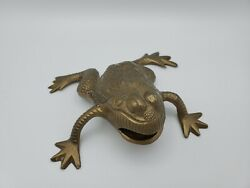 Vintage Brass Frog Toad Sculpture Patina Open Mouth 5 Wide Twoand039s Company Ny