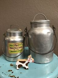 Antique Vtg 2 Dairy Milk Can Pail Bucket Rustic Farm Miner Jug Storage Canister