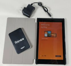 Kindle Fire Hd 8 7th Gen 16gb Wi-fi 8 Tablet Sx034qt Black With Cover
