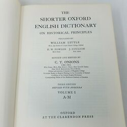 The Shorter Oxford English Dictionary On Historical Principles In 2 Volumes 1968