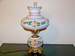 Vintage Gone With The Wind Lamp With Hand Painted Flower 12 Wide High Top Shade