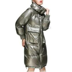 Occident Womens Mid Long 90 Duck Down Shiny Puffer Coats Stand Collar Thicken L