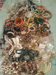 WEARABLE VINTAGE NOW COSTUME JEWELRY LOT FREE .925 Charm