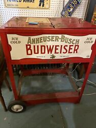 Vtg Budweiser Anheuser Busch Beer Wagon Cart Ice Chest With Certificate