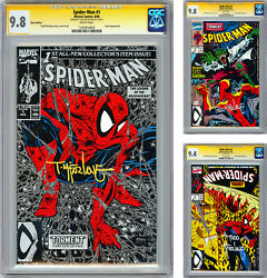 Spider-man 1-2-3 Cgc-ss 9.8-9.8-9.4 Premiere Issues Signed Todd Mcfarlane 1990
