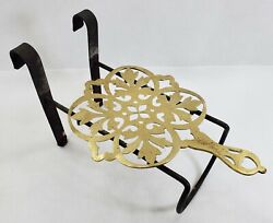 Early Antique Hand Wrought Iron And Brass Fireplace Hearth Ware Trivet Pot Holder