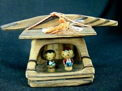 Vintage Japanese Dolls Carved Wooden Painted Kokeshi In Small House