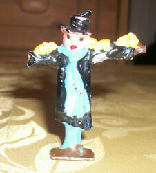 Rare Vintage Lead Scarecrow In Top Hat And Birds France Excellent Cond