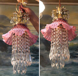 2 Vintage Fenton Cranberry Jelly Fish Nautical Glass Brass Swag Lamps Fountain