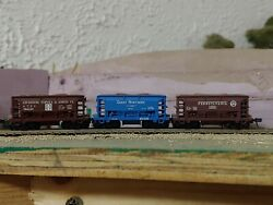 3x N Scale Atlas 70 Ton Ore Cars Linked Together, Prr, Atandsf, Gn
