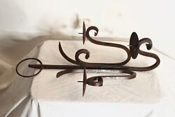 Antique Wrought Iron Metal Wall Mounted Candelabra Candle Holder 3 Arms Gothic