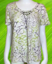 Samantha Grey Short Sleeve Multicolor Abstract Design Women#x27;s Embellished Top S $6.60