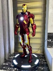 Large 38.5 Led Iron Man Mk7 Mark Vii 1/2 Resin Statue Figure With Stand Base