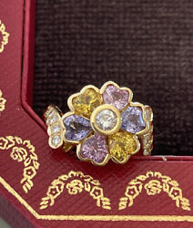 Vintage Natural Colors Sapphire And Diamond Ring 20k Yellow Gold 😍