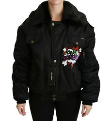 Dolce And Gabbana Jacket Black Queen Crown Sequined Bomber It40 /us6 / M Rrp 3800