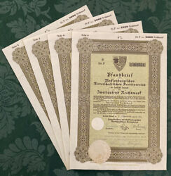2000 Reichsmark German Wwii War Bond Nazi 4 Consecutive Serial Andrsquos 1944 4 Lot