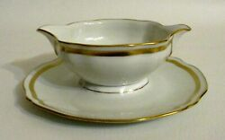 Raynaud Limoges Ceralene Marie Antoinette Gold Gravy Boat W/ Attached Underplate