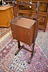 Antique Walnut Smoke Stand, Vintage End Side Table