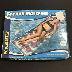 Poolmaster 83356 French Pocket Mattress Floatie Inflatable 74x28 Pink And Silver