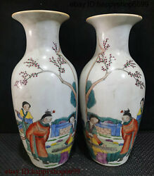 Collect Ancient Chinese Dynasty Porcelain Poetry Word Tree And People Vase Pair