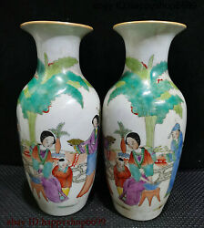 Ancient Rare Chinese Dynasty Porcelain People Boy Tree Flower Bottle Vase Pair