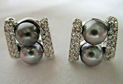 Good Quality Vintage Silver Tone Clip Earrings With Faux Pearls