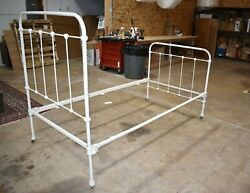Antique Victorian Iron Bed Twin Size White