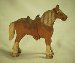 Vintage Hand Carved And Painted Wooden Horse Shadowbox Shelf Display Sold As Is