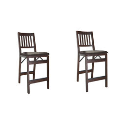 Meco Stakmore Fabric Seat Folding Counter Stools, Espresso 2 Pack Open Box