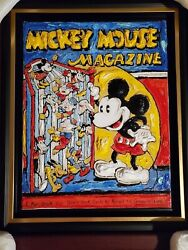 Leslie Lew Sculpted Acrylic Painting On Canvas Reading Mickey Signed/framed