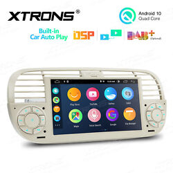 7 Android 10.0 Dsp Car Gps Stereo Radio Multimedia For Fiat 500 2007-2015 Beige
