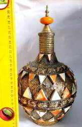 Art Pottery Bottle Oranted By Copper And Bone Of Animals Handmade