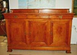 Antique French Walnut Louis Philippe Sideboard Hutch Credenza Chest Cabinet