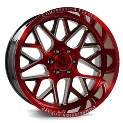 24 Inch 24x12 Axe Forged Ax5.2 Candy Red Wheels Rims 8x180 -44