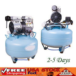 2pc Dental Medical Silent Noiseless Oil Free Oilless Air Compressor 30l 550w Usa