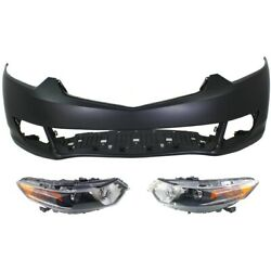 Hid Headlights Lamps Set Of 3 Front Hid/xenon Left-and-right For Acura Tsx 09-10