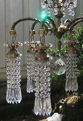1 Vintage Chandelier French Brass Bronze Fountain Waterfall Crystal Lamp Beaded