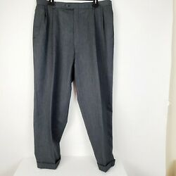 Austin Reed Mens Size 36x28 100 Wool Pleated Front Dress Pants Gray Super 100's