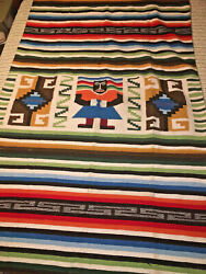 Vintage 1940's Hand Woven Wool Mayan Zapotec Mexican-indian Blanket Rug 50x89