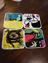 Vtg Joan Miro Ceramic Porcelain Coaster Complete Set Of 4 Abstract Mcm Wow