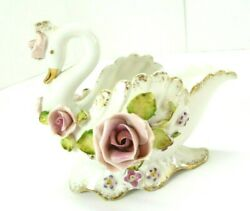 Lefton China Swan Trinket Dish Planter Gold Edges Delicate Flowers Hand Painted