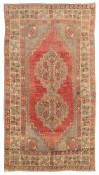 3.5x6 Ft Vintage Handmade Rug With Soft Wool Pile In Warm Red, Orange And Gray