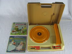 Vintage 1978 Fisher Price 33 45 Rpm Record Player W 2 Disney Book And Records